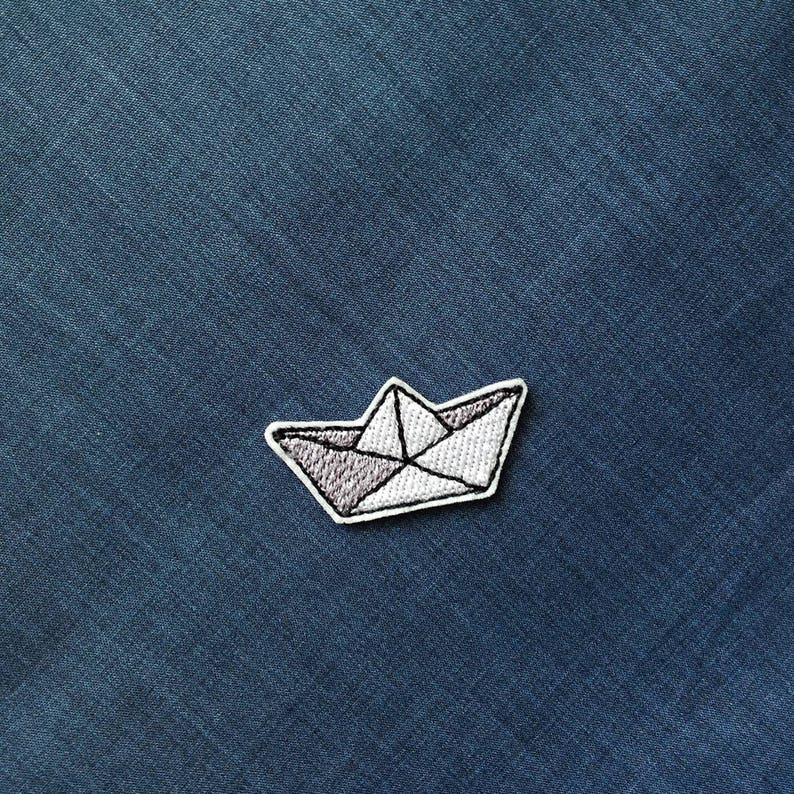 Paper boat origami patch Small patch iron on patch Embroidered  60337d808d