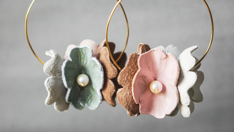 Hoop flower earrings flower petals large hoop colourful flower statement earrings oversize earrings spring earrings artisan earrings