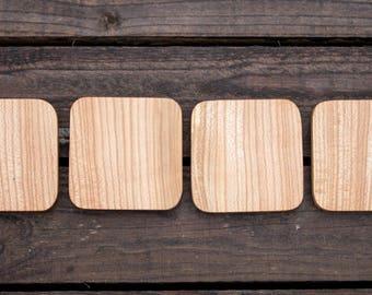 Solid wood coaster 98mm (set of 4)