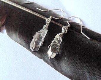 Danburite earrings, drop earrings, dangle earrings, wire wrapped danburite jewelry, danburite jewelry, wire wrappes earrings, synergy 12