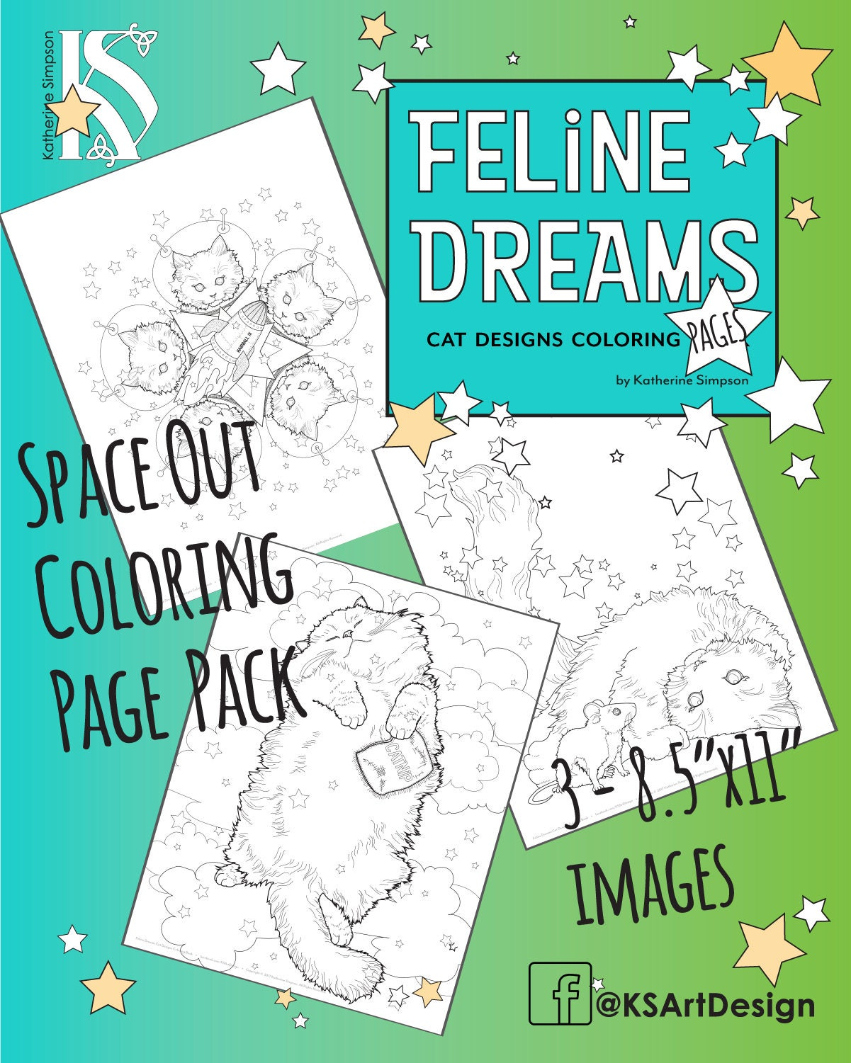 Feline Dreams Space Out Kitten Coloring 3 Page Pack with   Etsy