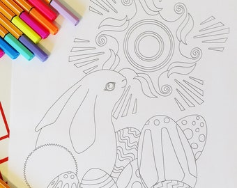 Bunny Easter Eggs Sun Coloring Page | Kids Coloring | Adult Coloring | Digital Download