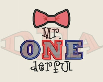Mr. One-derful (Applique) - Instant Download Machine Embroidery Design