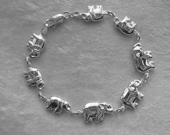 Elephant Bracelet, African Elephant jewelry, Sterling Silver Elephant Mother and Baby Bracelet