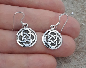 f84b63716 Celtic Earrings, Solid Sterling Silver Celtic Interlocking Weave Dangle  Earrings, Celtic Jewelry, Irish Earrings