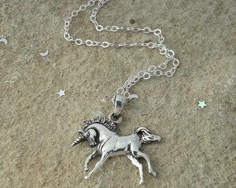 Unicorn Necklace, Unicorn Pendant, Solid Sterling Silver Unicorn Necklace