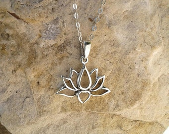 Lotus Necklace, Lotus Pendant, Solid Sterling Silver Lotus Flower Necklace, Buddhist Jewelry, Hindu Jewelry