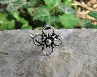 Flower Ring, Solid Sterling Silver Flower Ring, High Polish and Oxidized Flower Ring, Hippie Ring