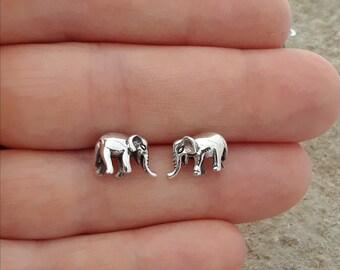 Elephant Earrings, Solid Sterling Silver Elephant Earrings, Safari Jewelry, 3D Elephant Stud Earrings