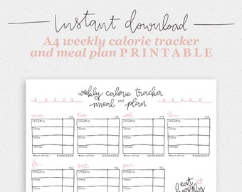 Weekly calorie tracker and meal plan | Healthy living | Organization | Instant download | Printable | A4