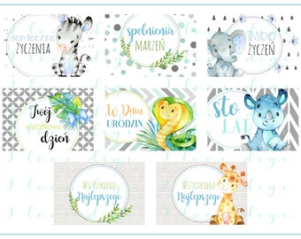 6594b99b55 Sweet watercolour baby animals, illustrations, pocket mirrors, tags,  scrapbooking, cupcake toppers, Birthday Boy, POLISH LANGUAGE VERSION