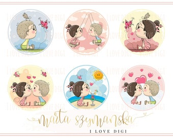 New baby Digital collage sheet - high resolutions circle image - scrapbooking, cardmaking, tags, invitations, etc.
