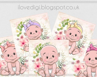 Printable download New baby Digital collage sheet - high resolutions square image - scrapbooking, cardmaking, tags - images paper goods