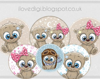 Cute teddy bear, New baby Digital collage sheet - high resolutions circles image - set of 6, image paper goods printable