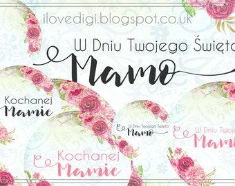 Mother's Day - digital collage sheet - digi stamp set - scrapbooking, cardmaking, tags, etc. - Polish version