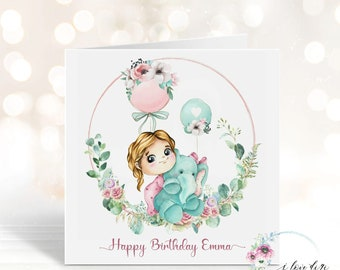 Happy Birthday custom card, card from Parents Uncle Aunty, Card for little girl, daughter, niece, One of a kind design card