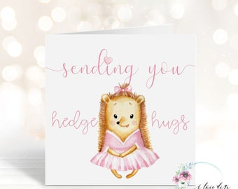 Hedgehog card for all occasions, Sending you hedge hugs, Birthday card with animal, Card for family and friends, Mother's Day Card