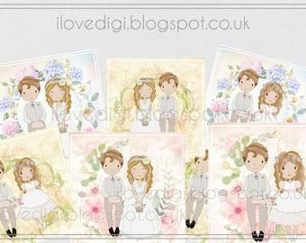 Wedding Digital collage sheet, very romantic - scrapbooking, cardmaking, invitations, tags, etc.
