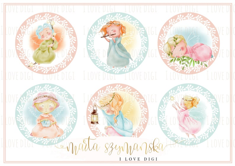 photo about Stamps Printable titled Mounted of 6 Tiny Angels - Electronic Stamps - Printable - Immediate Down load - Xmas / Baptism / Christening - pastel coloration