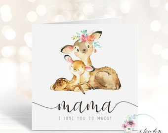 Minimalist Mother's Day card with deers, First Mother's Day card, Mama I love you so much card, Card for Mum, Mother with child, Doe & deer