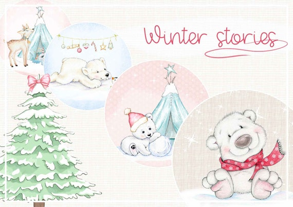 picture about Printable Christmas Stories called Winter season experiences, Polar Bears, Xmas electronic collage sheet, slash winter season pets, quick obtain