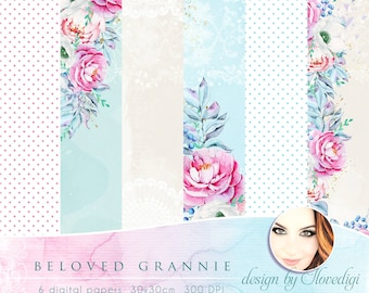 Peonies digital papers,, Floral craft collection, Printable Scrapbook pink flowers papers,, Beloved Grannie, Mother's Day, Blue background