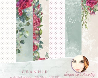 Roses digital papers,, Floral craft collection, Printable Scrapbook red flowers papers set, Beloved Grannie, Mother's Day, green background