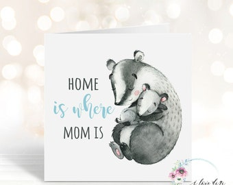 Home is where Mom is card, Minimalist Mother's Day card, First Mother's Day card, Mama I love you so much card, Card for Mum