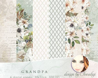 Flowery digital papers, Watercolor Floral collection, Printable Scrapbook set, For Grandpa and Father's Day, green and beige background