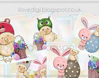 Easter digital collage sheet - scrapbooking, cardmaking, tags, etc