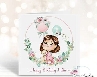 Happy Birthday card, Birthday card from Grandma Grandpa Parents , Card for daughter niece, One of a kind design card, Grirl with balloons