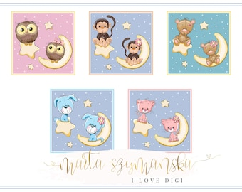 New baby Digital collage sheet - high resolutions square image - scrapbooking, cardmaking, tags, invitations, etc.