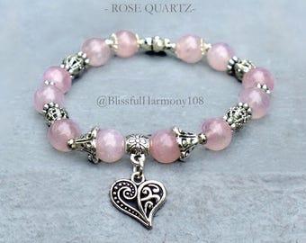 Rose Quartz Bracelet, Rose Quartz Jewelry, Pink Charm Bracelet, Pink Quartz Bracelet, Pink Bracelet, Mala Bracelet, Gift For Her