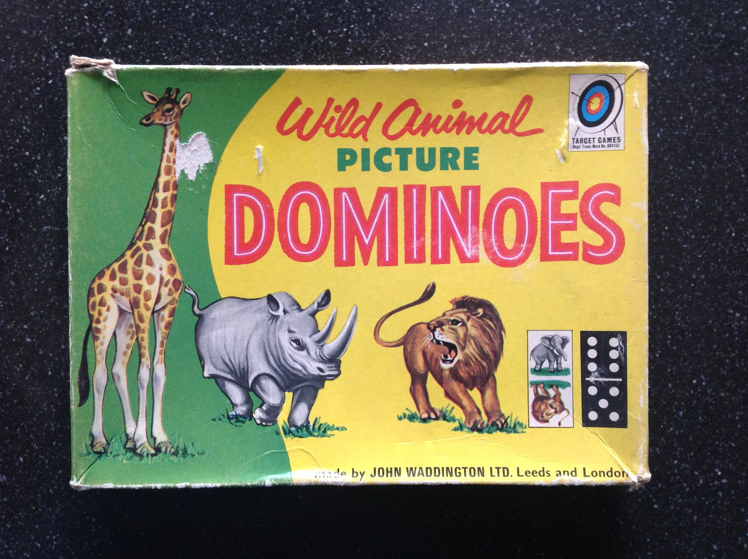Vintage wild animal picture Dominoes 1960s