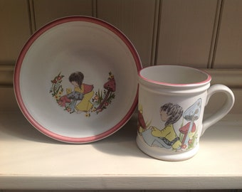Vintage China children's cup and bowl Denby 1970s