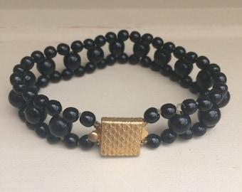 Vintage black glass beaded bracelet 1950s