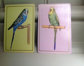 Vintage budgie playing cards x 2 1960s