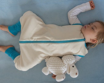 Sleep Sack with feet for 6-24 month old made of 100% Merino Wool and Organic Cotton | Sleeping bag for babies and toddlers |Wearable blanket