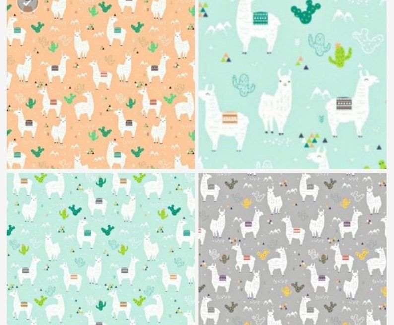 100/% Cotton Poplin Fabric LLAMA ALPACA CACTUS WHITE Kids Childrens Material