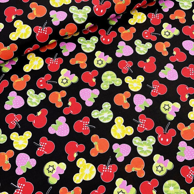 Mickey Mouse Fruits fabric disney cotton for quilting black pink white