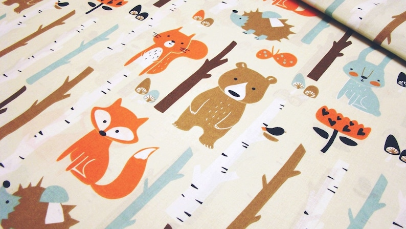 694af0eed6ee Forest animals on beige cotton cute animals Fox bear