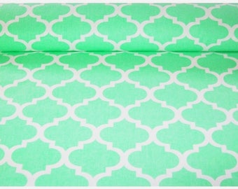 Mint moroccan print, morocco cotton fabric by the yard