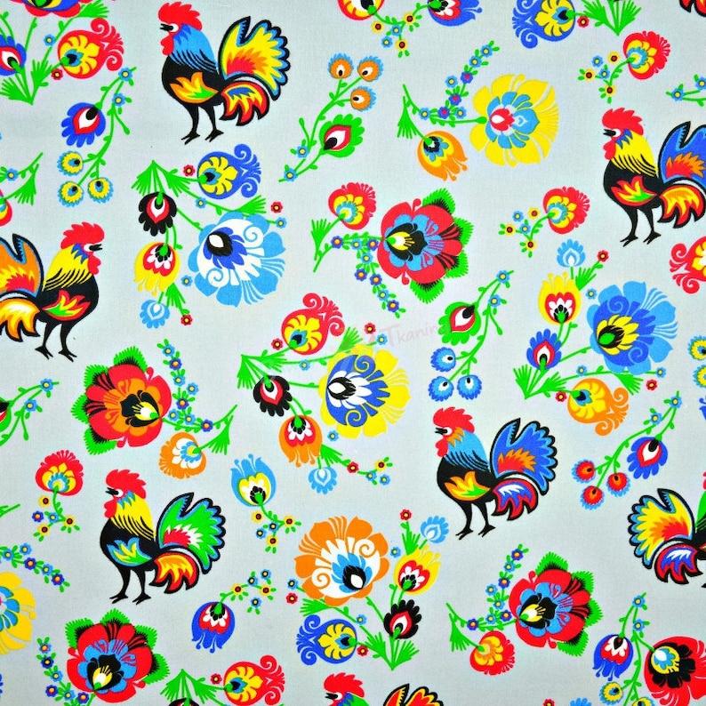 Grey Folklore Floral Cotton Poplin 100/% Cotton Fabric Dressmaking Quilting
