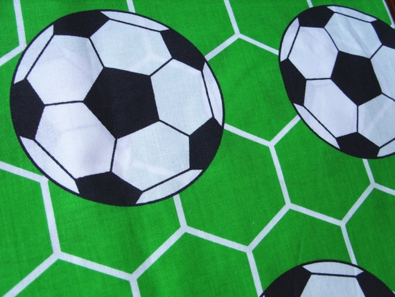 FOOTBALL Fabric Fat Quarter Cotton Craft Quilting Sports Balls Soccer Black Wt