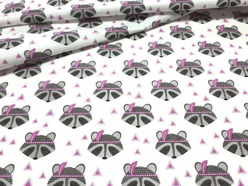 Cute animals native american fabric, raccoon cotton, purple Poplin Fabric,  racoons with feather