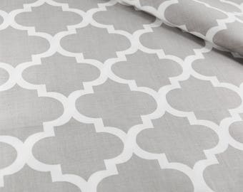 Moroccan fabric grey, moroccan print, morocco cotton fabric by the yard