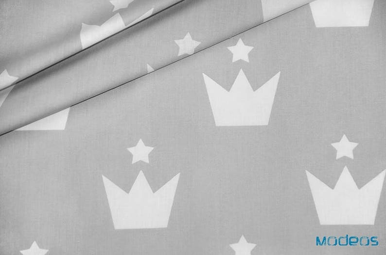 White crowns fabric, crown pattern on grey cotton, queen crown print, royal  fabric by the yard
