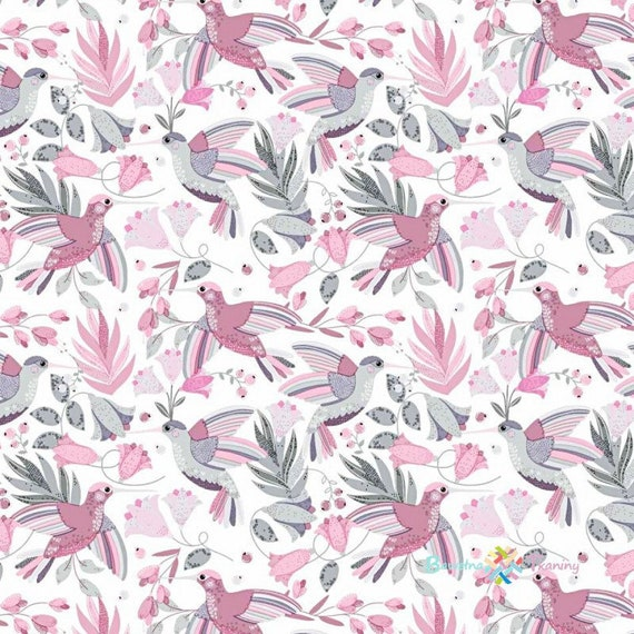 100/% Cotton Fabric 160cm wide, Grey and Pink Birds on White