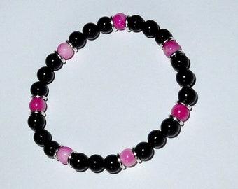 Handmade black onyx and dyed jade bracelet