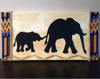 Mother Daughter Elephant Canvas